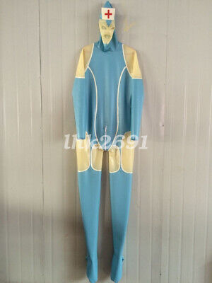 Latex Light blau Transparent Nurse Overall Catsuit Sexy Cosplay Bodysuit S-XXL