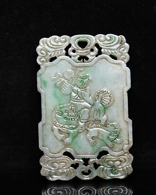 Chinese Exquisite Hand-carved people beast Carving jadeite jade Pendant