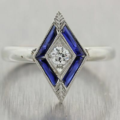 1920's Antique Art Deco Platinum 0.55ctw Sapphire & Diamond Ring