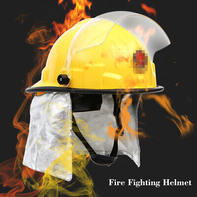 Fire Proof Fireman's Safety Helmet With Goggle Amice Electric Shock T9Z3