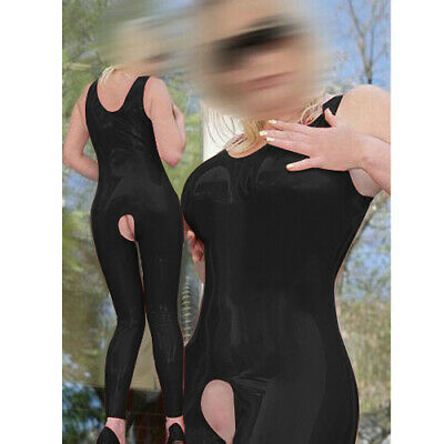 Latex Catsuit Sleeveless Schwarz Ganzanzug Vest Gummi Fashion Rubber Bodysuit