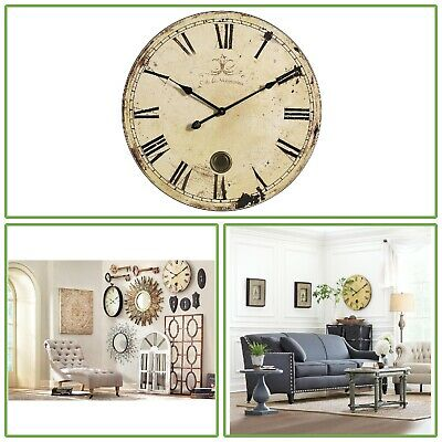 23 In Vintage Antique Oversized Yellow Cream Wall Mount Analog Clock Decoration