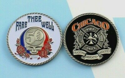 Grateful Dead Challenge 50th Coin   fireman firefighting skull Chicago