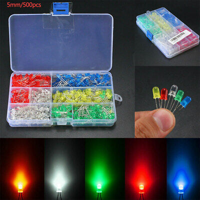 500x 3mm/5mm LED Light Emitting Diodes Round Head 2Pin Assorted Diode Multicolor