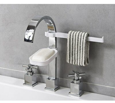 Faucet Soap Towel Holder Removable Dishcloth Drying Shelf Water Tap Plastic Sink