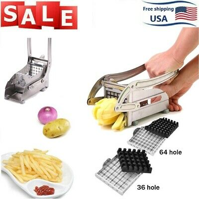 Stainless Steel French Fries Cutter Vegetable Potato Chopper Slicer 2 Blades