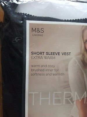 Pack Of 2 Short Sleeve Thermal Vests M&S Size 14 Extra Warm Black Warm & Cosy Ne