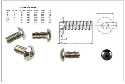 "6,8,10,1/4,5/16,3/8, 1/2"" Unc Button Head Bolts A2 Stainless Steel Screws Harley"