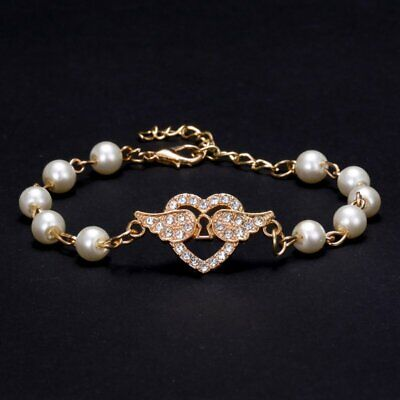 Chic Crystal Pearl Heart Wings Angle Charms Gold Bracelet Bangle Chirstmas Women