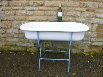 Vintage  Baby Tin  Bath Enamel  Sink Ice Wine Cooler Etc  Roll Top  Free Post
