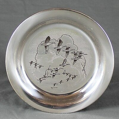 Solid Silver Plate After Peter Scott by John Pinches Pink Feet Geese