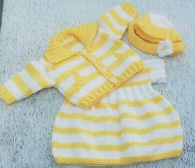HAND KNITTED BABY GIRL Dress - Cardigan - Hat / Headband set. 0-3 months.
