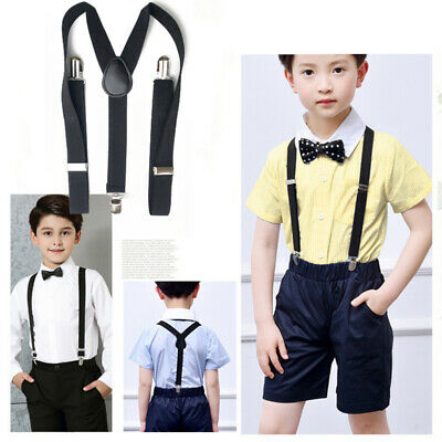 Children Kids Boys Matching Suspenders Braces and Bow Tie Set for Wedding Party