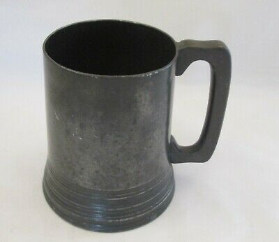 A Good 19th Century Pewter Pint Tankard with Glass Bottom