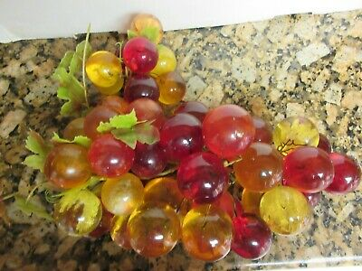 Vtg Large Bunch Acrylic Lucite Plastic Orange Yellow Red Grapes Mid Century 7 lb