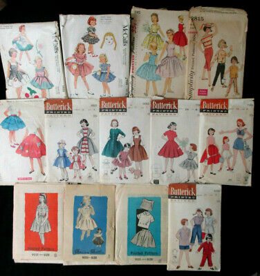 Vintage 50's 60's Sewing Patterns Lot of 13 Girl's Size 8