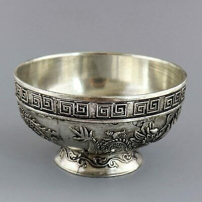 Collectable Old Tibet Silver Hand-Carved Dragon & Phenix Chase Sun Delicate Bowl