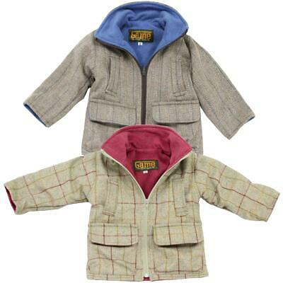 Kids Game Stornsay Tweed Jacket Unisex Boys Girls Fleece Lined Country Coat