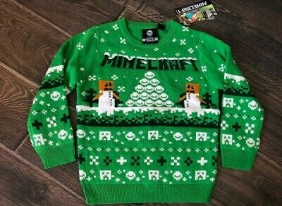 Primark Boys Minecraft Xmas Jumper Christmas Party Top Bnwt All Ages