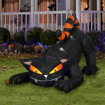 6 ft. Long Pre-Lit Animated Turning Head Black Cat with Striped Tail Airblown