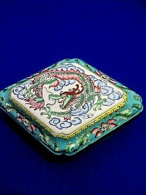 Lovely Old Chinese Cloisonne On Copper Lidded Box With Dragon Design Motif