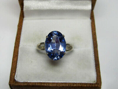 RARE Vintage Beautiful USSR Ring With SAPPHIRE Silver 875 USSR Antique Size 8