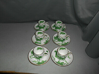 Vintage Wedgwood China Chinese Tigers Green 6 Demi Cup and Saucer Set