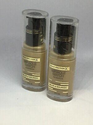 2 x Max Factor Miracle Match Foundation,Blur & nourish, Sealed Shade Sand 60