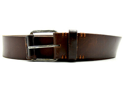 Vintage Handmade Mens Real Leather Belt Brown Size 44