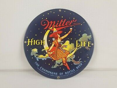 MILLER High Life Girl In The Moon Ande Rooney NY Sign Porcelain on Metal.