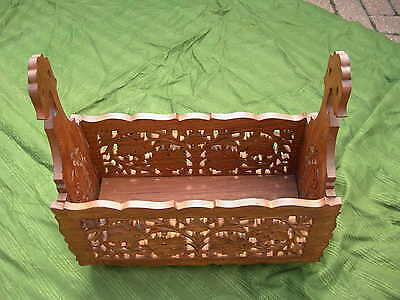 Mahogany Magazine Rack Ornamental Hand Carved Folding Collapsible