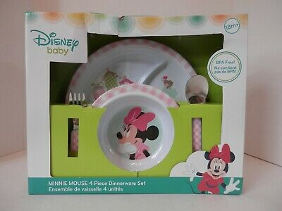 Disney Babies Minnie Mouse 4 Piece Dinnerware Set-NEW-Free Shipping