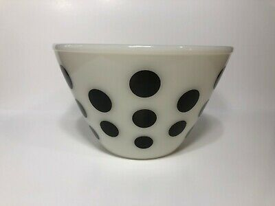 "Vintage Fire King 7 1/2"" Black Polka Dot Oven Ware Mixing Bowl"