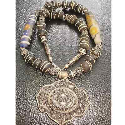 Wonderful Old Rare mosaic glass beads Necklace with Pendant   # 29