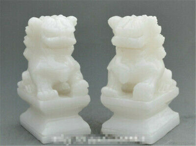 A pair China Fengshui Natural White Jade Hand-Carved Statues Foo Dog Lion Gift
