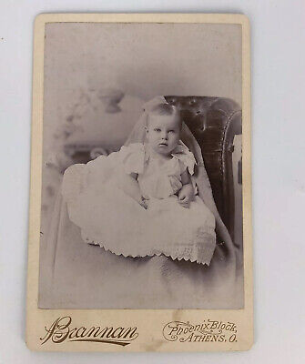 Antique Photo Cabinet Card - BLONDE BABY IN WHITE GOWN Athens Ohio -F