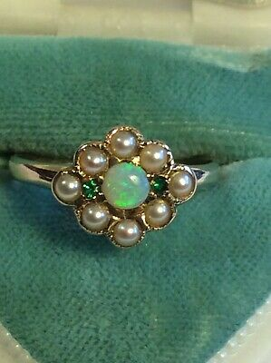 Gorgeous Antique Victorian Art Deco 14K Gold SEED PEARL EMERALD OPAL HALO RING