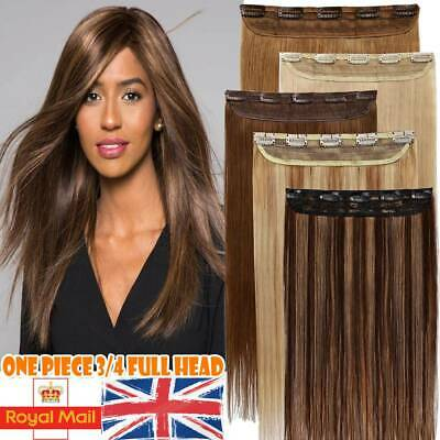 "8""-24"" One Piece Clip In Weft Remy Human Hair Extensions Half Head Straight Wavy"
