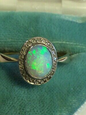 Gorgeous Antique Victorian Art Deco .585/14K Gold DIAMOND OPAL HALO RING