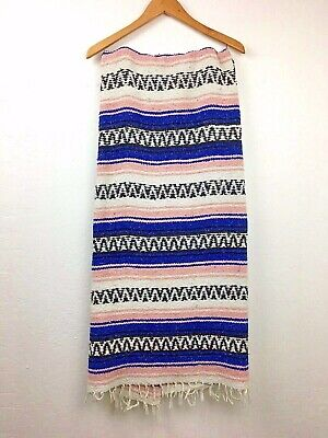 """Authentic Mexican Falsa Blanket Hand Woven Yoga Mat Blanket 74"""" x 48"""" Blue Pink"""