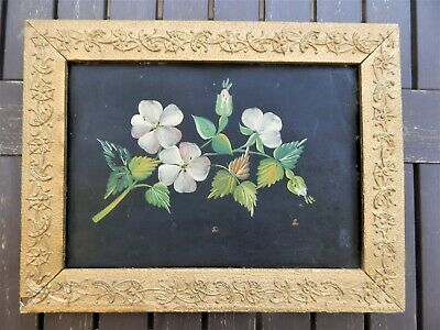 Antique Tin Tole Floral Painting Pink Dogwood Gold Gesso Frame  Rare & Unusual