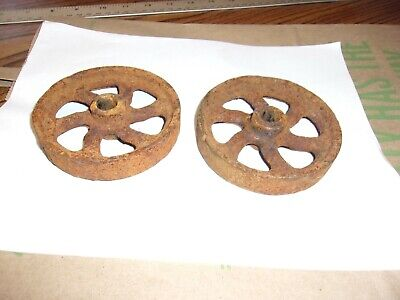 "MATCHING SET OF 2  Antique Rustic Cast Iron Decorative 4"" Wheels -Good Used Cond"