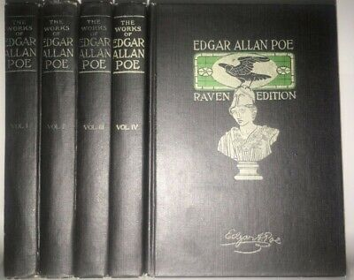 THE WORKS of EDGAR ALLAN POE! FIRST EDITION 1903 RAVEN EDITION!horror RARE! Gift