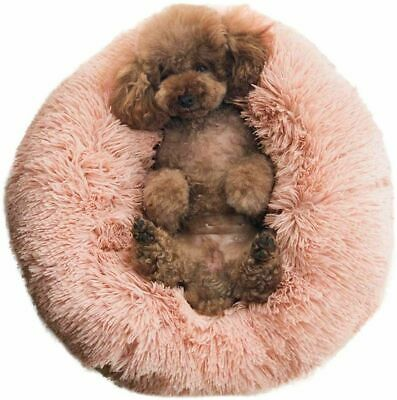 Pet Beds Round Dogs Cushion Cozy Fur Donut Cuddler Improved Sleep Kennels Pads