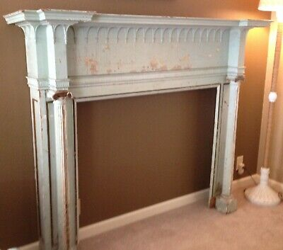 Rare Antique Architectural Fireplace Mantel with Columns Vintage Farmhouse Style