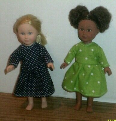 """6-7/"""" Doll Clothes-fit Mini American Girl My Life-2 Dresses-Daisy Blue Green Dots"""