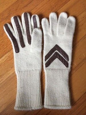 Women's ISOTONER Aris Stretch Cream Knit & Brown Leather Driving Wrist Gloves