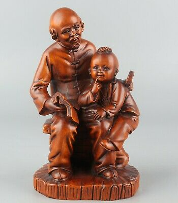 Chinese Exquisite Hand carved Old man child Carving Boxwood statue