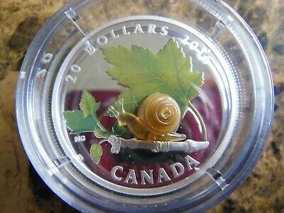 2016 Snail Venetian Murano Glass Little Creatures $20 Pure Silver Coin Canada