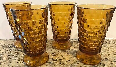Vintage Indiana Colony Glass Whitehall Cubist Amber Iced Tea Tumblers (Set Of 4)